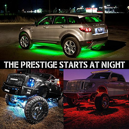 60-90cm MIHAZ 4Pcs LED Undercar Glow Lights Underglow Atmosphere Decorative Light Strip Kit Running RGB Multi-Color Under Car Musical Sync Light Tube Underbody Sound Actived Wireless Remote Control