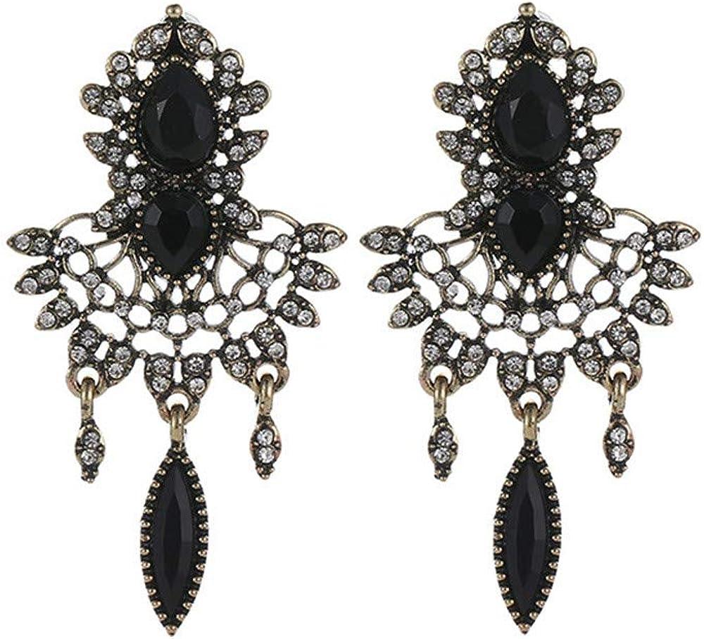MORETIME pendientes para mujer,Pendientes de piedras preciosas de cristalClips de oreja perforada moda hipster flor diamantes Mariposa azul fiesta para regalos de novias y madres