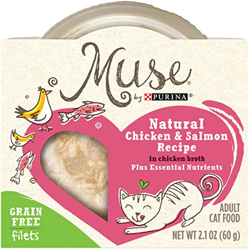 Muse by Purina Filets Grain-Free Natural Chicken & Salmon Recipe in Chicken Broth Adult Wet Cat Food - 2.1 oz. Tub by Muse by Purina