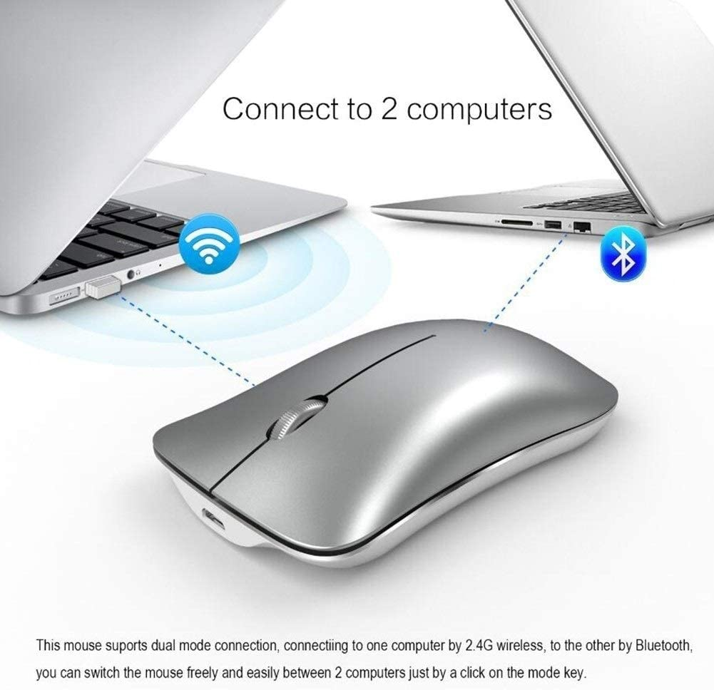 Computer Cordless Mouse Mouse for Laptop Rechargeable Slim Noiseless DPI Adjustable 2.4G Optical Laptop with USB Receiver 1600 DPI Color : Silver Wireless Silent