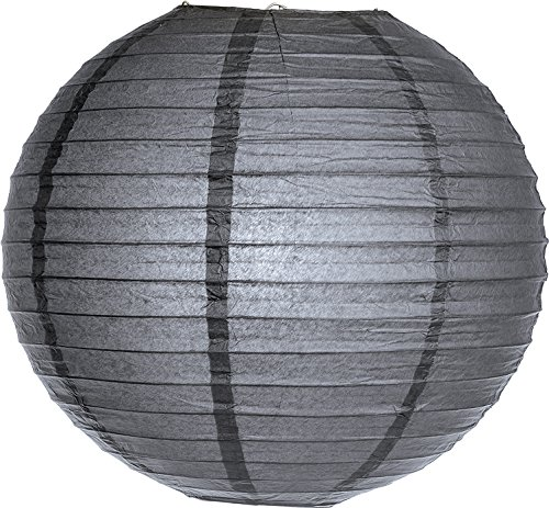 (Luna Bazaar Premium Paper Lantern Lamp Shade (10-Inch, Parallel Style Ribbed, Charcoal Grey) - Chinese/Japanese Hanging Decoration - for Parties, Weddings, and)