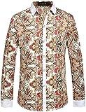 SSLR Men's Vintage Printed Long Sleeve Shirt (Large, Off-White)