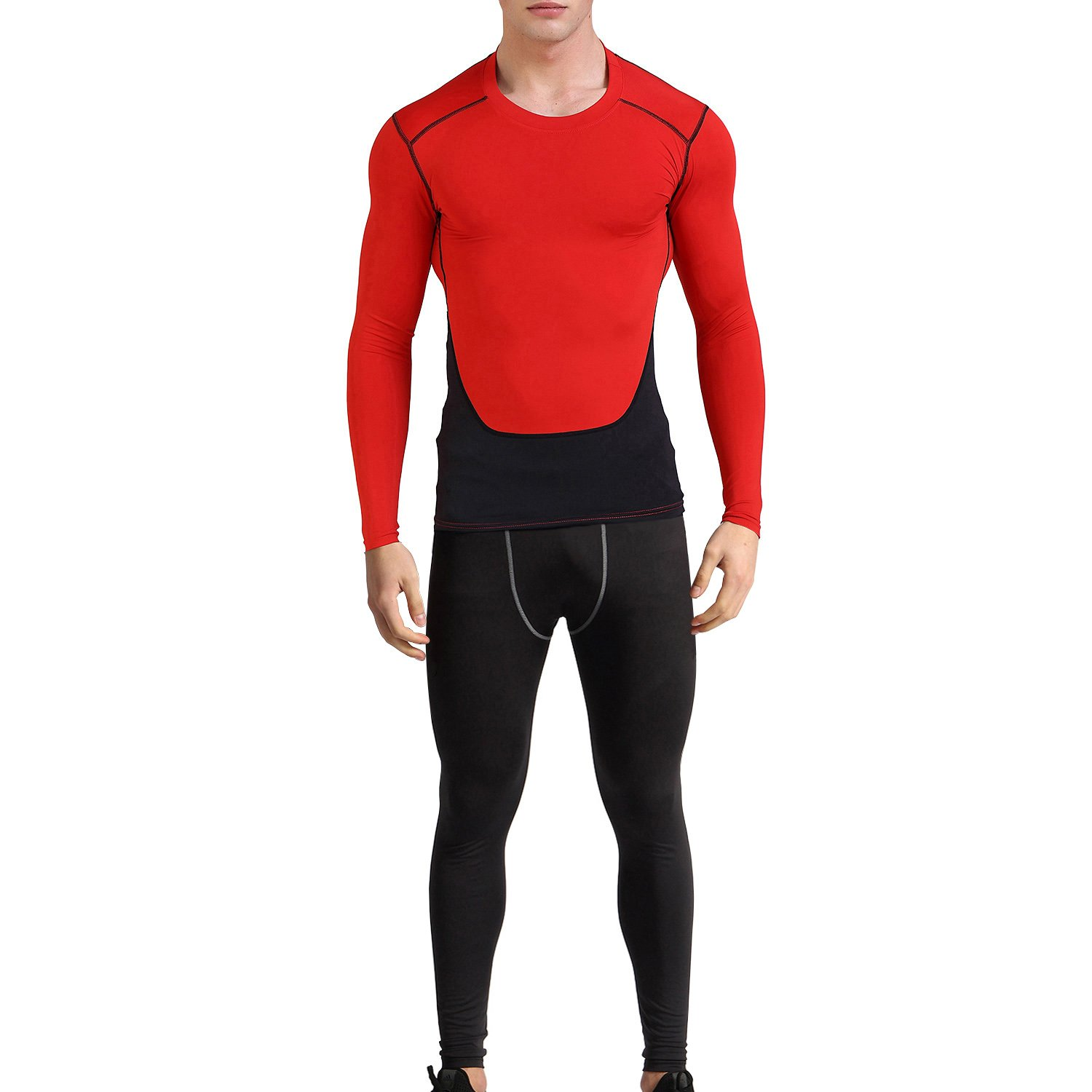 1Bests Men's Gym Workout Running Quick-Drying Compression Shirt and Pants Sets
