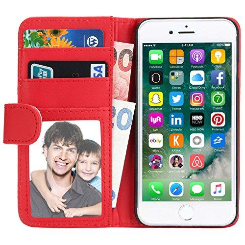 iPhone 7 Plus Hülle, EnGive Ledertasche Schutzhülle Case Tasche mit Standfunktion und Karte Halter Für iPhone 7 Plus (Rot)