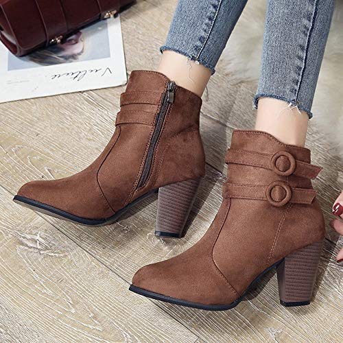 Talon Chaussures Gros Hiver overdose Western Sexy Boots En Femme Marron Soldes Hauts Bottines Daim Bottes Ankle AzPqw1