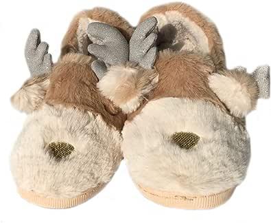 LANFIRE Zapatillas de Animales Zapatillas Elk de Navidad, Zapatillas de Invierno Cálido Zapatillas de Mujer Zapatillas de Pareja Zapatillas de Felpa caseras