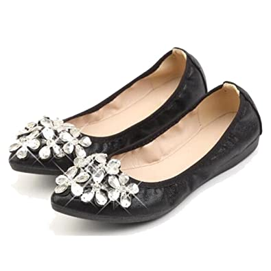 8f042214a1a75 COVOYYAR Women s Pointed Toe Rhinestone Flower Bling Ballet Flats Casual  Slip On Shoes Black