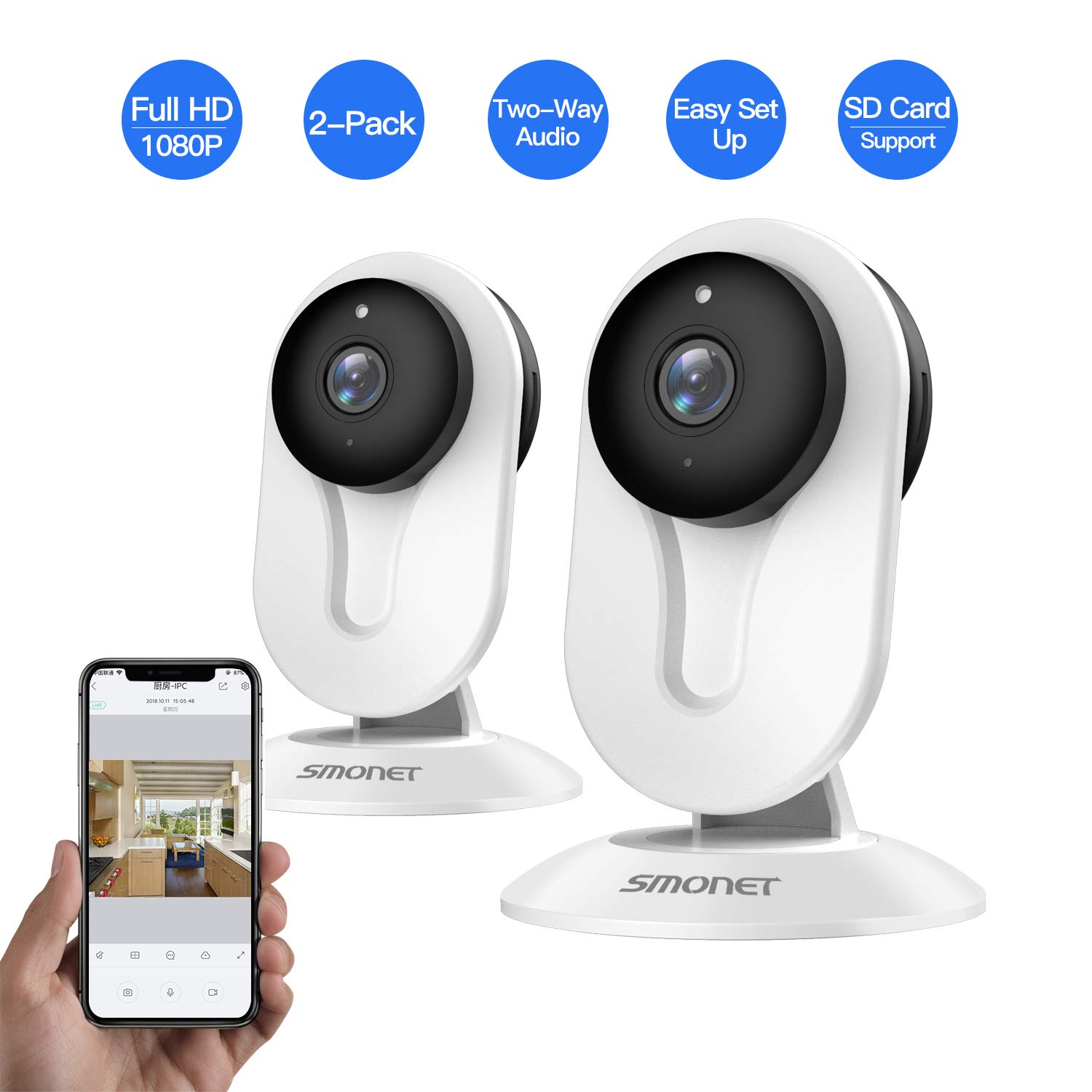SMONET IP Security Camera, Home Security Camera Wireless with Two-Way Audio, Night Vision, Full HD 1080P 2.0 Mega-Pixel Indoor Surveillance Camera for Elder/Baby/Nanny/Pet Monitor (White,2 Packs) by SMONET