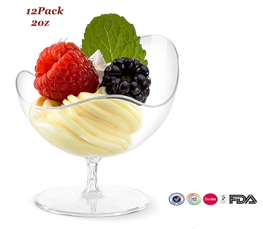 Ahippob Mini Dessert Cups - 12 Pack/set Dessert Cups Mini Cubes Clear Tasting / 2 oz Sample Glass Containers Elegant Plastic Clear Candy Bowls Disposable Reusable Party Bowls