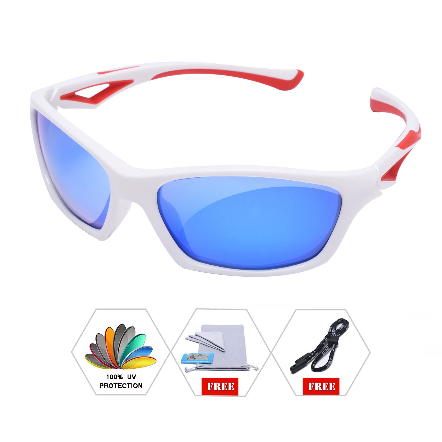 AODUOKE Sports Polarized Sunglasses For Kids Children Boys And Girls Shades With Strap TR90 Unbreakable Frame (White/Red | Blue Lens)