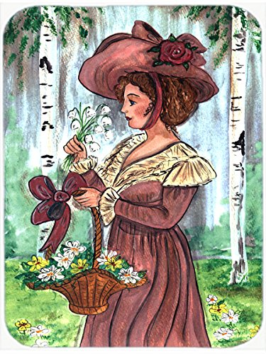 Caroline's Treasures Fancy Lady with Hat and Flowers Glass Cutting Board, Large, Multicolor