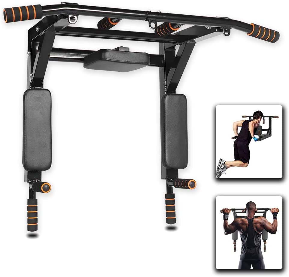 Jandecfit Pull Up Bars Wall Mounted Multifunctional Chin Up Bar,Home Pull Up Bar Dip Station for Full-Body Strength Workouts at Home Indoor Gyms,Power Tower Set Support to 440Lbs