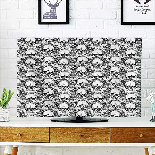 Auraisehome Protect Your TV The Dead Decor Skull Skeleton Pattern Print Dia de Los Muertos Festive Theme Protect Your TV W25 x H45 INCH/TV 47