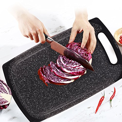 Kitchen Cutting Board (3 Pieces Set), Plastic Chopping Board Set with Juice Groove - Marble Appearance Design, Non Slip Design, Dishwasher Safe and BPA Free