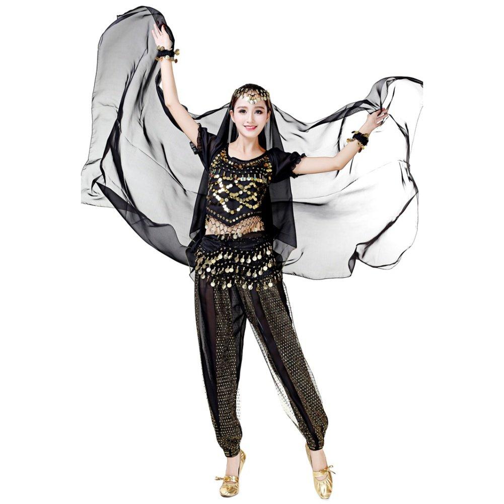 hougood indio de danza del vientre pañ uelo para la cabeza diadema de baile accesorio para la cabeza cabeza bufanda chal de la mujer, mujer, negro