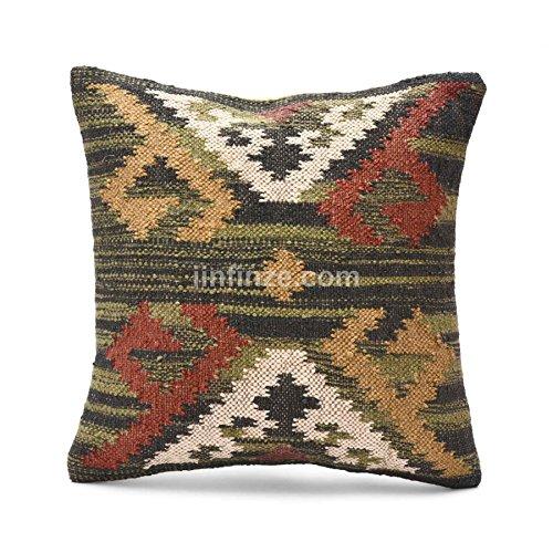 - Indian Set Of 2 Sofa Pillow Throw Jute Cushion Cover, Handwoven Kilim Pillow Cover 18x18, Indian Jute Cushion Cover, Boho Pillow Shams Outdoor Cushions,Kilim Pillow Cove Decorative Throw Pattern 87