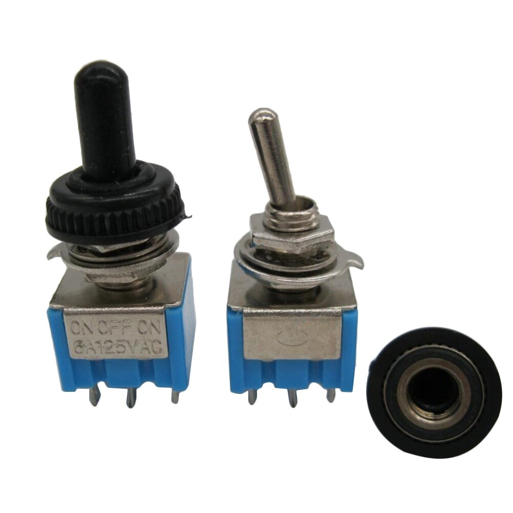 TWTADE/10 Pcs MTS-203 AC 125V 6A Amps ON-OFF-ON 3 Position 6 Pin DPDT Toggle Switch + 10pcs Waterproof Cap