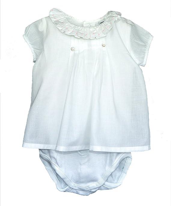 Body Camisa Blanca con Volante en el Cuello con topitos Rosas (6): Amazon.es: Ropa y accesorios