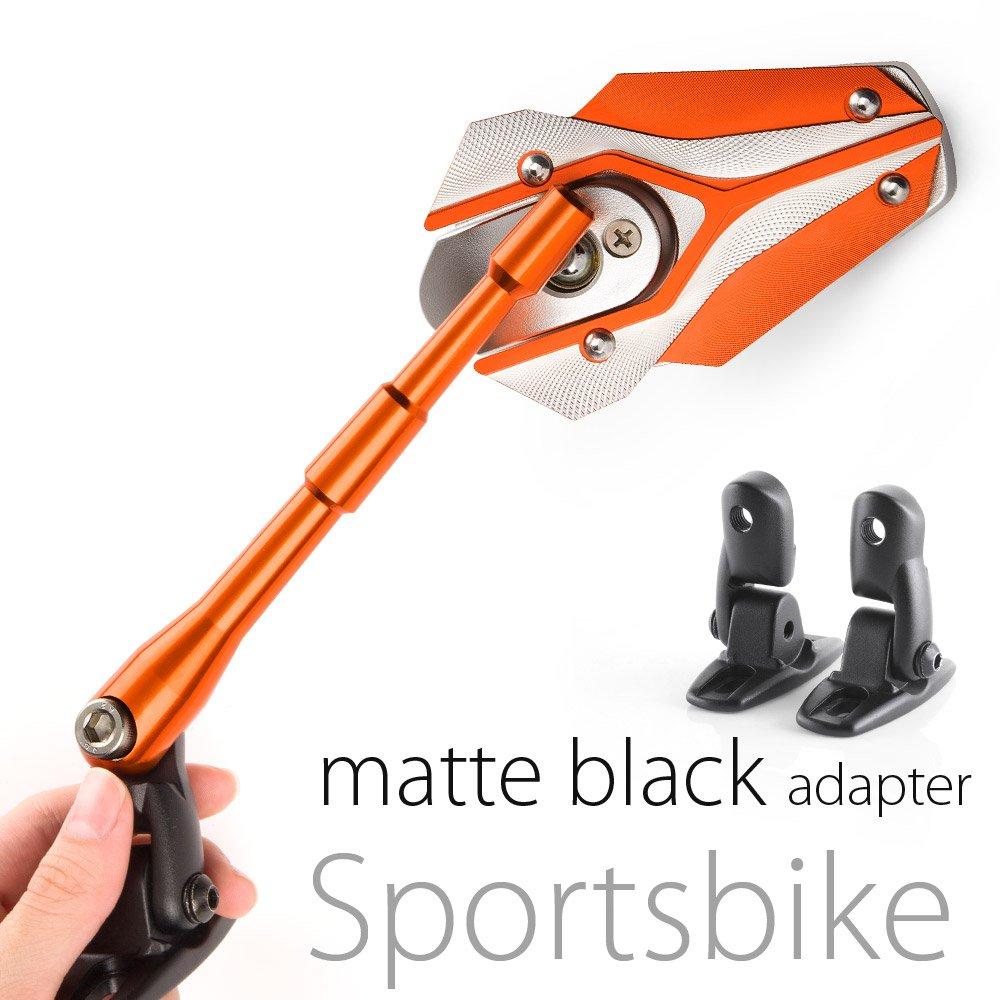 MAGAZI マガジ バイパー バイクミラー カウリングミラー フェアリングミラー 銀色とオレンジ色  フェアリング取付 マットブラックのアダプター  一対 B00CHJ4C92