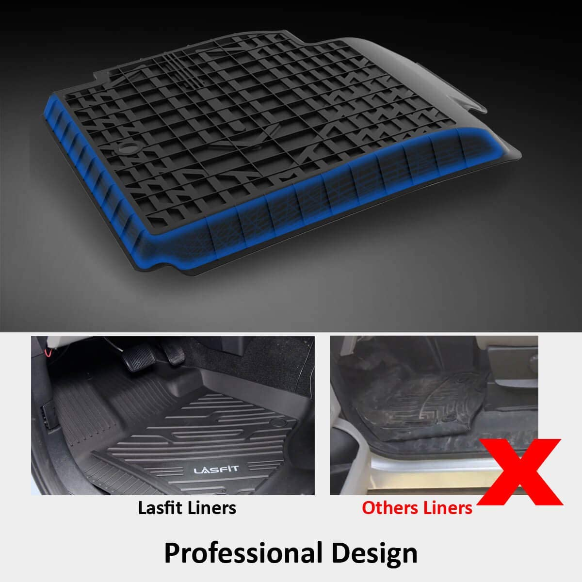 Black LASFIT Custom Floor Mats Fit for 5 Series 2017-2019 Heavy Duty All Weather TPE Floor Liners Front /& Rear Rows