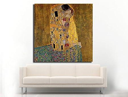 Cuadro Lienzo el Beso de Gustav Klimt - 50x50cm - Lienzo de Tela Bastidor de Madera de 3cm de Grosor - Fabricado en España - Impresión en Alta resolución y Calidad: Amazon.es: Hogar