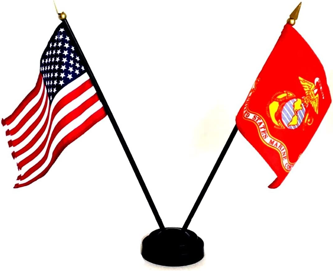 """Made in The USA!! 12 American and 12 United States Marine Corps Rayon 4""""x6"""" Office Desk & Little Hand Waving Table Flag, Includes 12 2-Hole Flag Stand & 24 Small 4""""x6"""" Mini Stick Flags"""