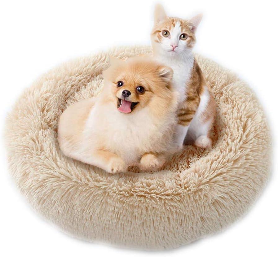 Cozywind Cama para Perros y Gatos,Mascotas Calentito Cojín Redondo Suave de Felpa (70cm, Marrón Claro)