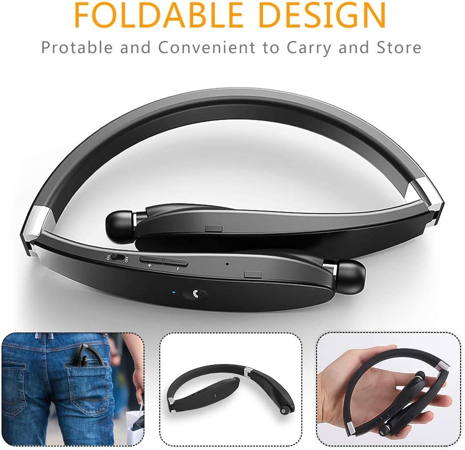CVC6.0 Noise Cancelling Mic for Cellphone Tablets TV ZMunited Foldable Bluetooth Headphones Wireless Bluetooth 5.0 Neckband Headset with Retractable Earbuds