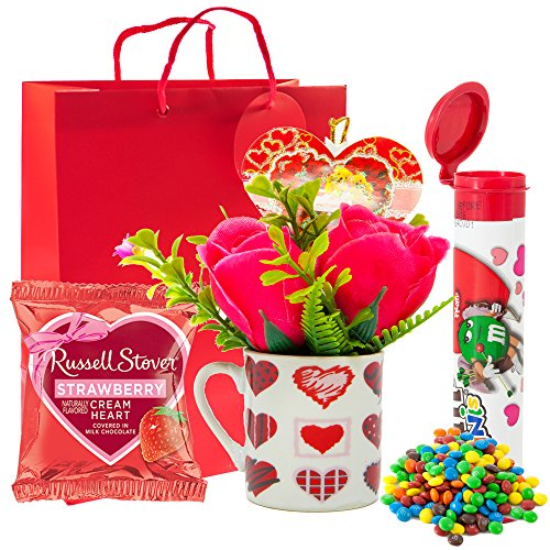 Valentine Day Gift Set | M&Ms Minis Milk Chocolate Candies + Russell Stover Strawberry Cream ...