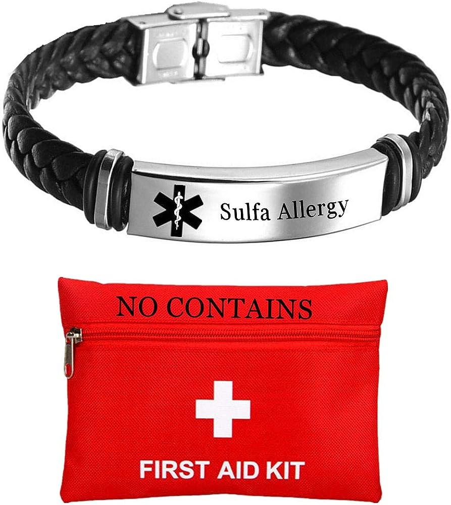 KBNSUIAN Customized Leather Medical Alert ID Bracelet,Personalized Food Allergies Awareness Identification Bracelets for Children Women Men,Medic Healthcare Alarm SOS Jewelry for Emergency Aid