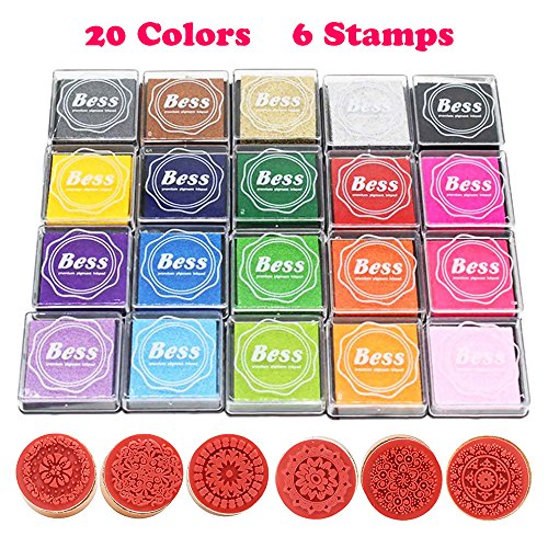 Huston Lowell Ink Pad Stamps Set,Stamp Pad DIY 20 Colors Rainbow Finger Ink Pad for Kids Scrapbooking Card Making Beautiful +6pcs Floral Pattern Round Wooden Rubber Stamps by Huston Lowell