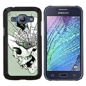 """Be-Star Único Patrón Plástico Duro Fundas Cover Cubre Hard Case Cover Para Samsung Galaxy J1 / J100 ( Araña de Halloween del cráneo Death Metal"""" )"""