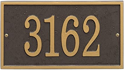 Rectangle Horizontal Metal House Number With Back Plate  3 Numbers  Metal Address Sign  Address Numbers  Mailbox Sign