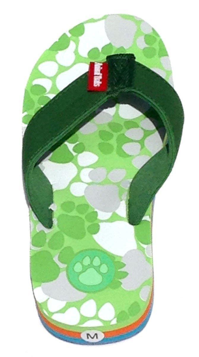 Bear Green Medium Kids Paw Print Flip Flops Fun for Beach, Trail and Pool.