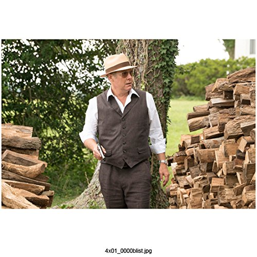 The Blacklist (TV Series 2013 - ) 8 Inch x10 Inch James Spader Holding Gun Grey Vest & Pants White Shirt w/Tan Hat Between Stacks of Fire Wood kn (List Of Best Firewood)