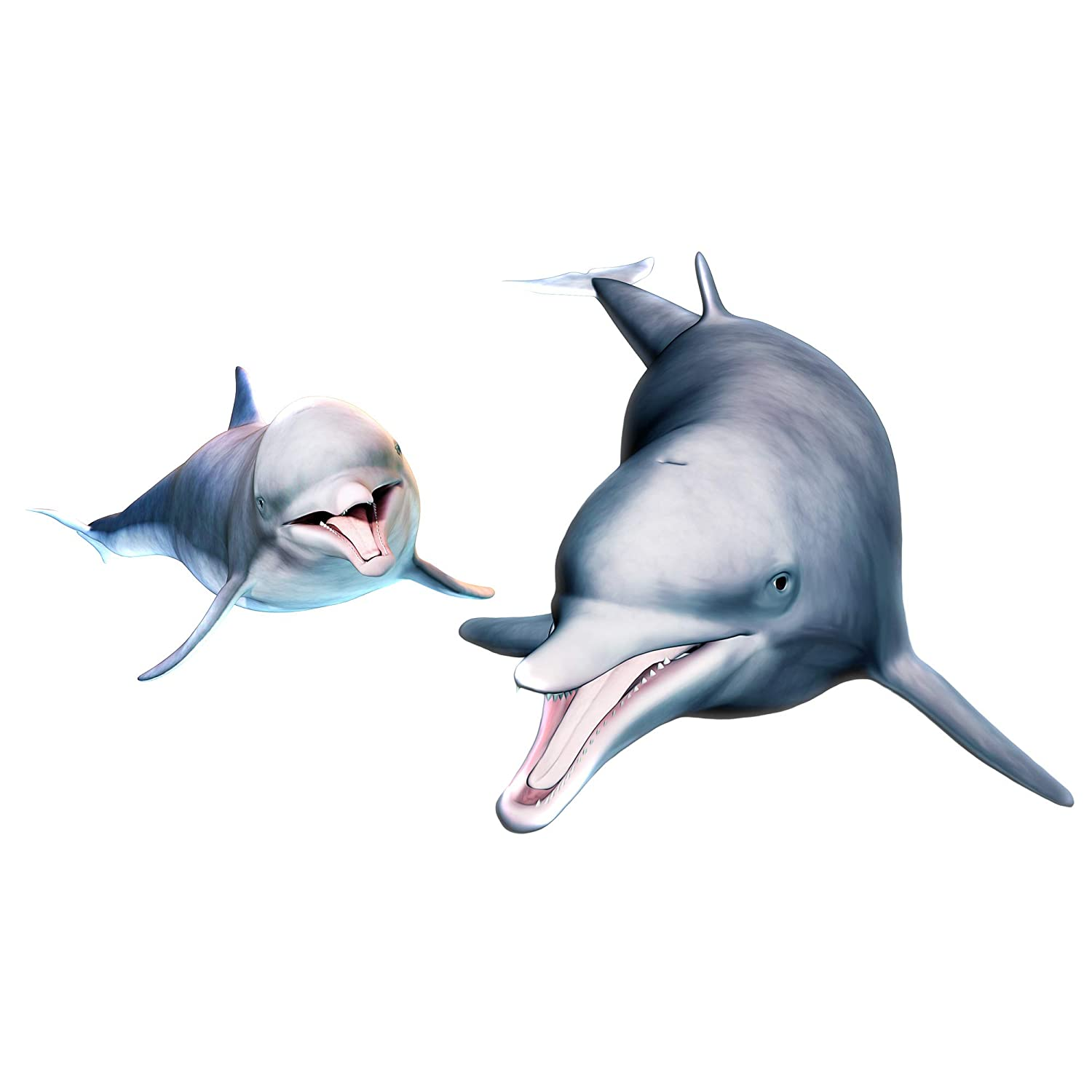 RW-1082 3D Dolphin Wall Sticker DIY Removable Peel and Stick Wall Decals Wallpaper Decorative Wall Sticker for Kids Babys Bedroom Bathroom Living Room Nursery Wall Decoration