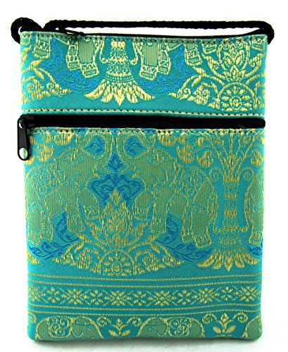 Phone Green Teal Small Strap Bag with Cellphone Passport Crossbody Elephant Wallet Purse AwFYwgSqR