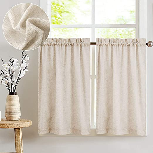 jinchan Tier Curtains Linen Textured 24 Inches Long Curtains for Kitchen  Small Cafe Curtains for Window Treatment Set 2 Panels Crude