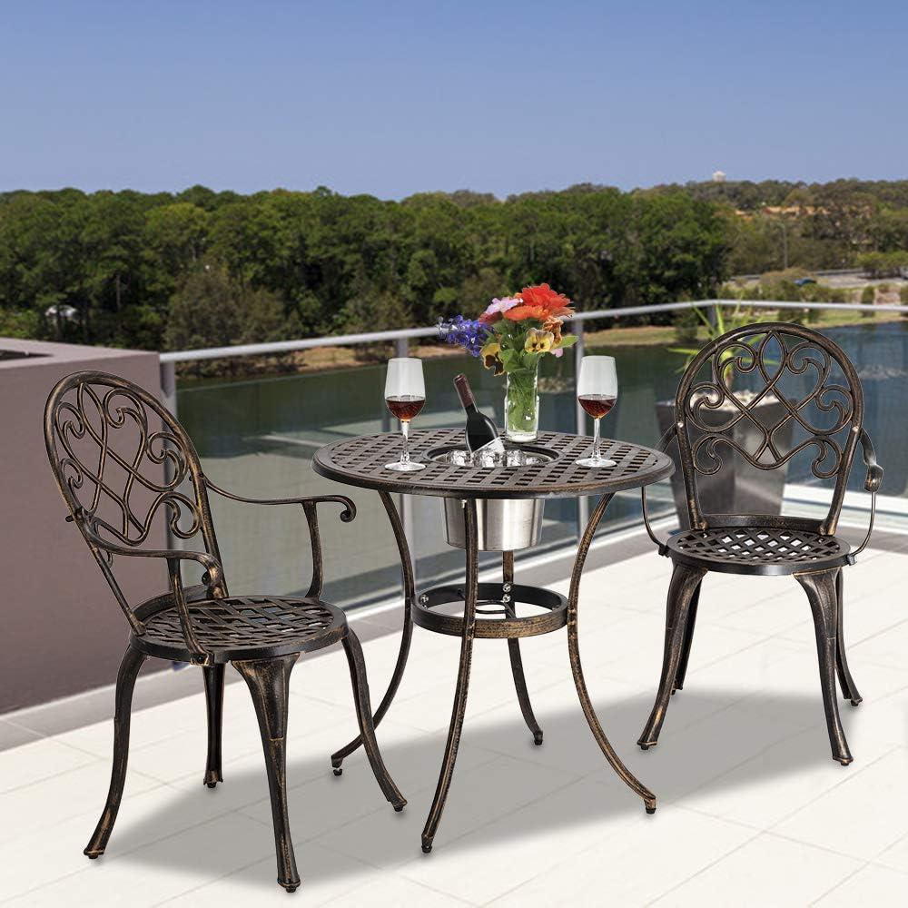 ATI Juego de Mesa y sillas de jardín de 3 Piezas de Aluminio ...