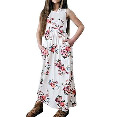 0cc8d2185a23 Toddler Little Girl Floral Long Maxi Dress Summer Ruffle Sleeveless  Princess Dress Baby Kids Sundress (