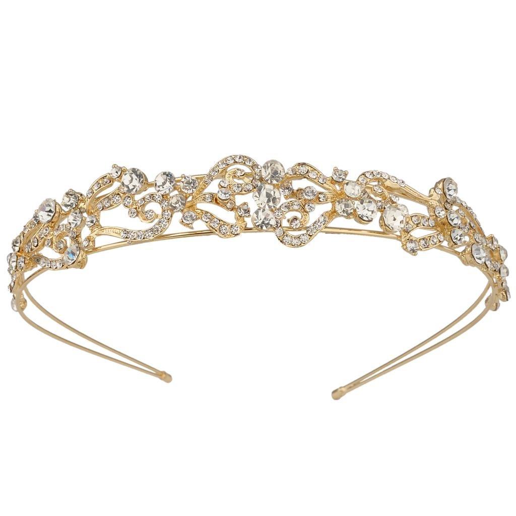 Ever Faith Gold-Tone Austrian Crystal Love Heart Shape Bride Tiara Head Band Clear N03408-2