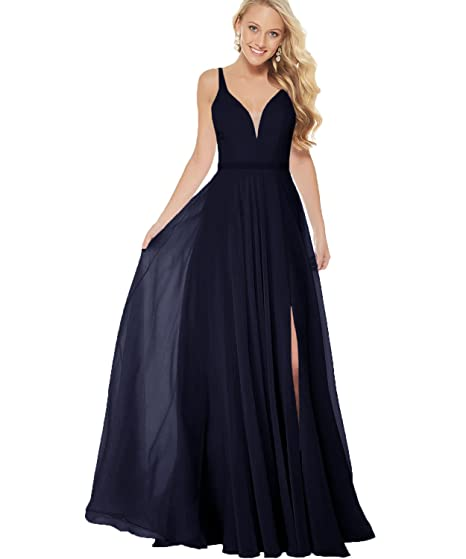 Women s V-Neck A Line Slit Chiffon Bridesmaid Dress Long Formal Prom  Evening Party Gown 0f40f5dcd69