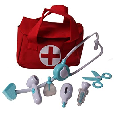 Storybook Wishes Lil' Doctor Medical 8 Piece Toy Play Set w/ First Aid Bag, Red/Blue: Toys & Games