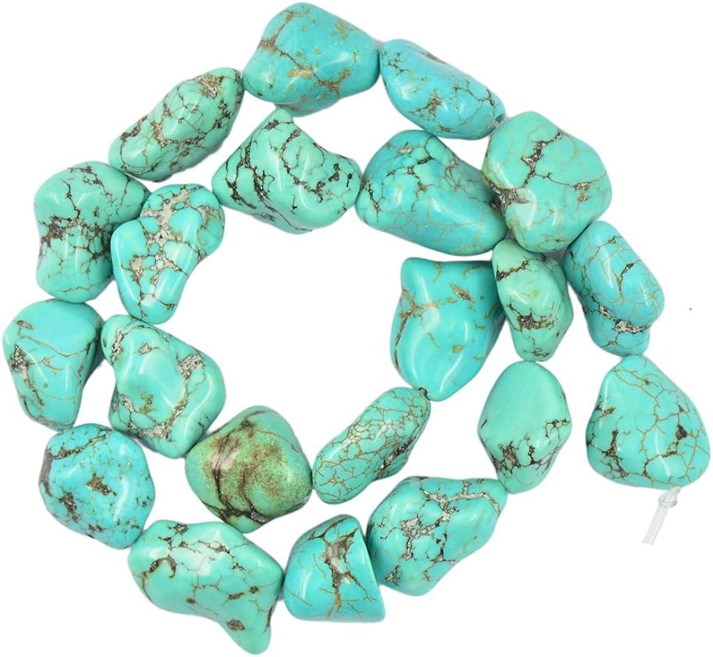 Turquesa De La Piedra Preciosa De La Pepita Perlas Filamento Flojo De 16 de La Joyería Que Hace DIY Color Azul