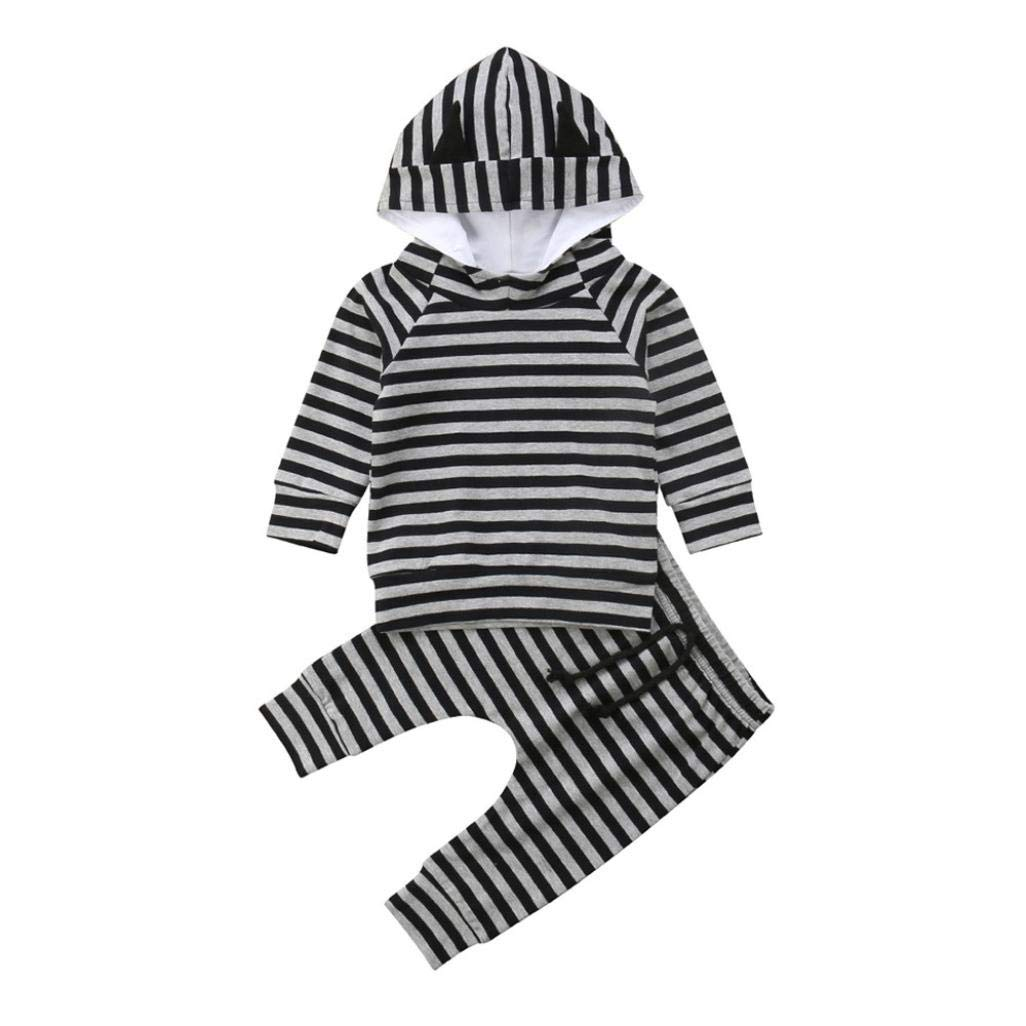 Wenjuan Baby Long Sleeve Newborn Infant Boys Girl Striped Ear Hooded Sweater Top+Pants Two Piece Set