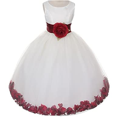 a4aae82a4 Little Girls Ivory Bridal Satin Bodice Double Layer Tulle Skirt Burgundy  Organza Sash Flower Petals -