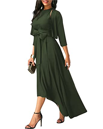 GIKING Womens Elegant Jacket+Belt+Dress Formal Asymmetrical Long Dresses Summer Army Green UK
