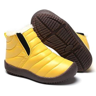 090d1439627a2 Bottines Mixte Enfant Garçon Fille Bottes de Neige Antidérapant Fourrure  Chaudes Doublure Boots de Hiver Sneakers