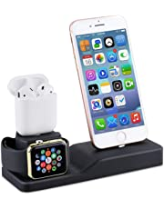 Phone Stand for AirPods, Tendak 3 in 1 Silicone Dock Holder for Apple Watch Series 1/2/3/4 38mm/42mm, iPhone X X/8/8 Plus/ 7/7 Plus /6s/5s(Charging Cables and Devices NOT Included)