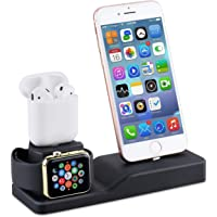 Tendak 3 in 1 Silicone Dock Station/Stand for AirPods, 38mm and 42mm Apple Watch Series 1/2/3/4, iPhone X/8/8 Plus/ 7/7 Plus /6s/5s